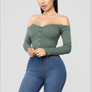 Green off the shoulder crop top
